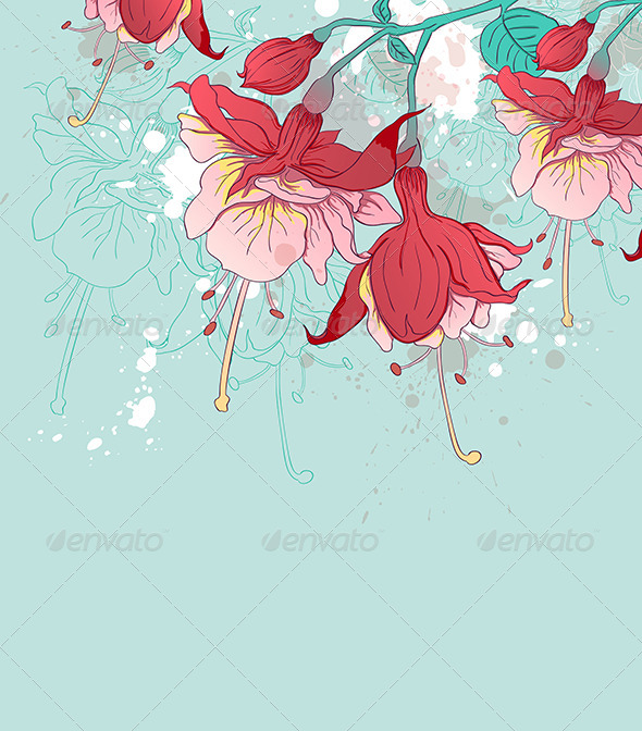 Abstract Green Background with Red Flowers