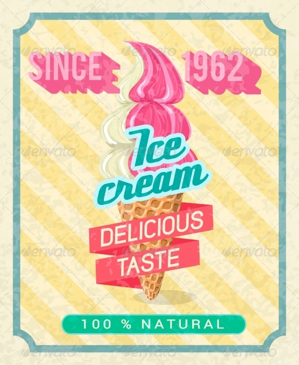 GraphicRiver Poster with Strawberry Ice-Cream 8423343