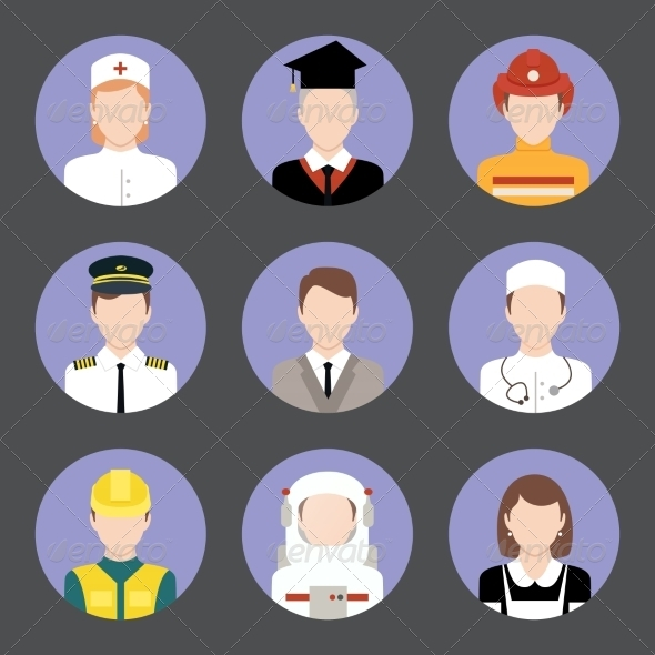 GraphicRiver Professions Avatar Flat Icons Set 8423348