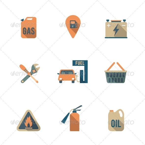 GraphicRiver Fuel Pump Icons Set 8423351