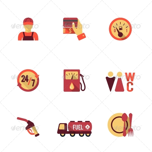 GraphicRiver Fuel Pump Icons Set 8423352