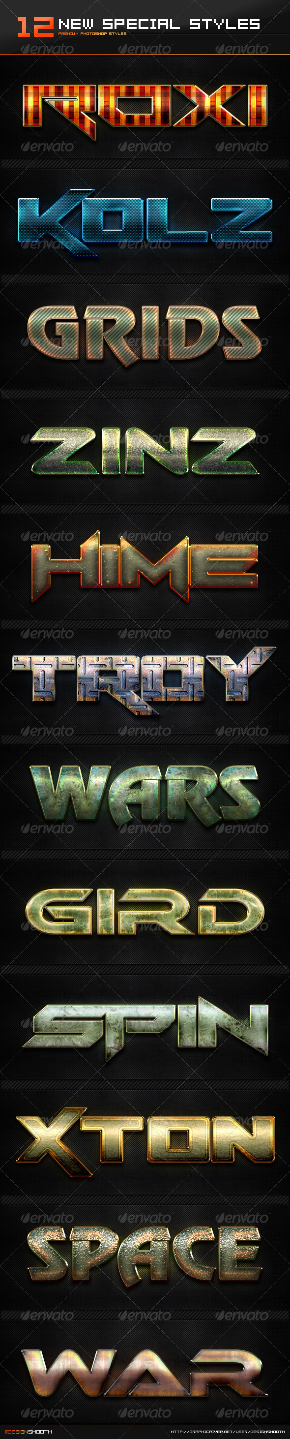 GraphicRiver 12 New Special Text Effect Styles 8423359
