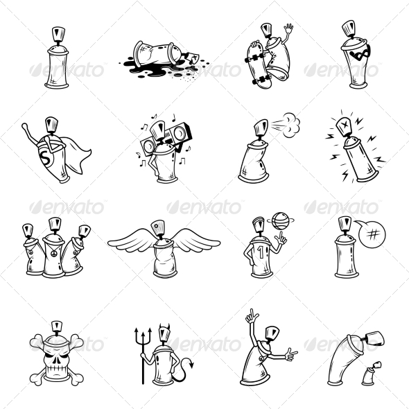 GraphicRiver Graffiti Characters Icons Set 8423361