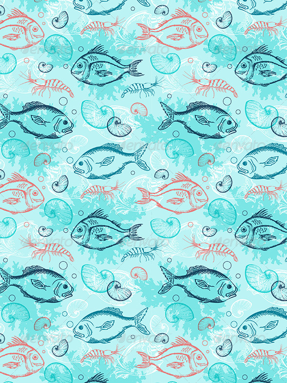 GraphicRiver Pattern with Tropical Fishes 8423363