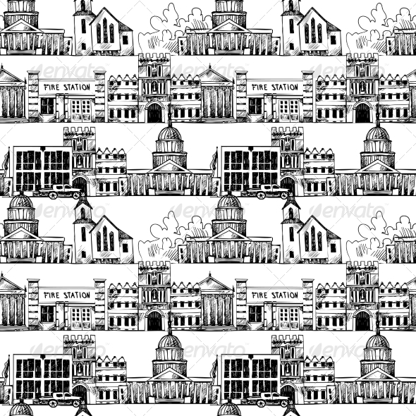 GraphicRiver Seamless Background with Government Buildings 8423365