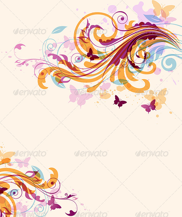 GraphicRiver Abstract Floral Background with Butterflies 8423382