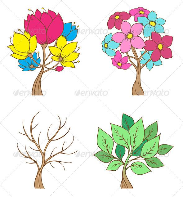 GraphicRiver Set of Decorative Trees 8423398