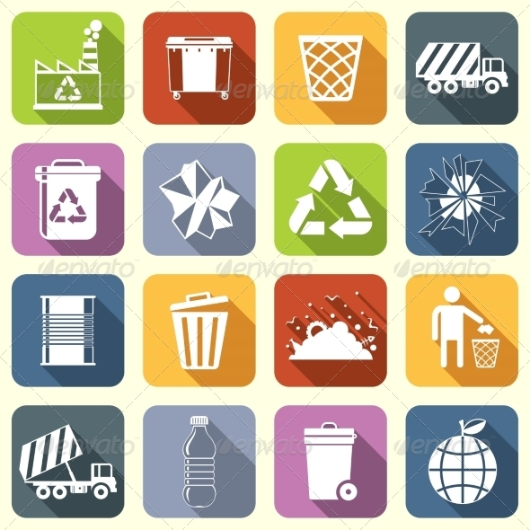 GraphicRiver Garbage Icons Flat 8423400