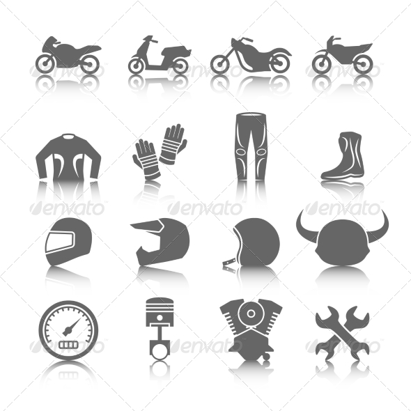 GraphicRiver Motorcycle Icons Set 8423404