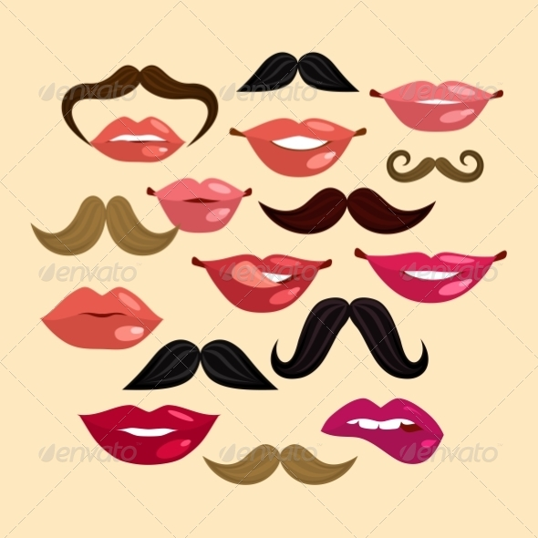 GraphicRiver Lips and Mustaches 8423409