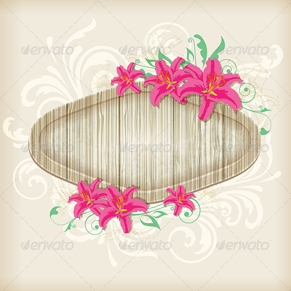 GraphicRiver Wooden Label with Red Lilies 8423419