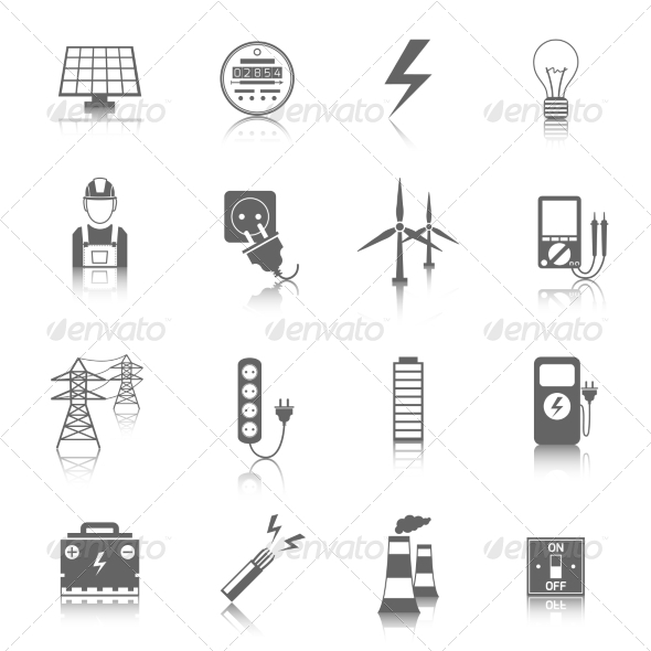 GraphicRiver Set of Electricity Icons 8423444