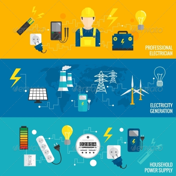 GraphicRiver Set of Line Banner Energy Generation 8423446