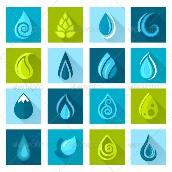 GraphicRiver Water Drops Icons 8423447