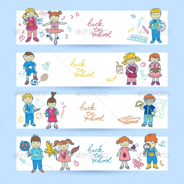 Set of Banners with Kids
