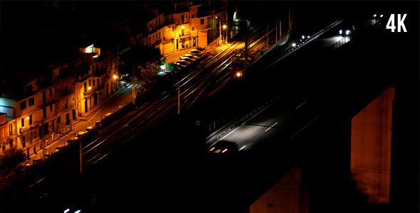 Cars On The Bridge In Night City