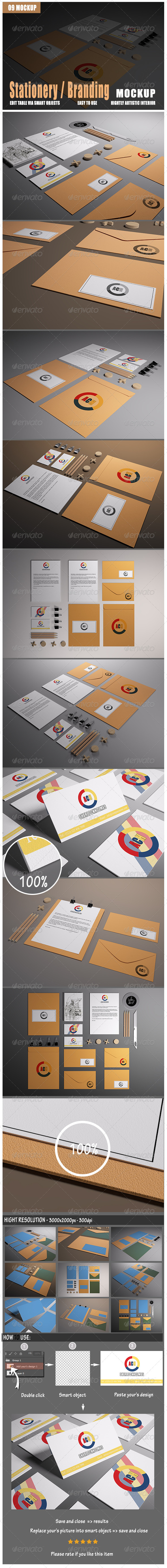 GraphicRiver Stationery Branding Mock-Up 8423739