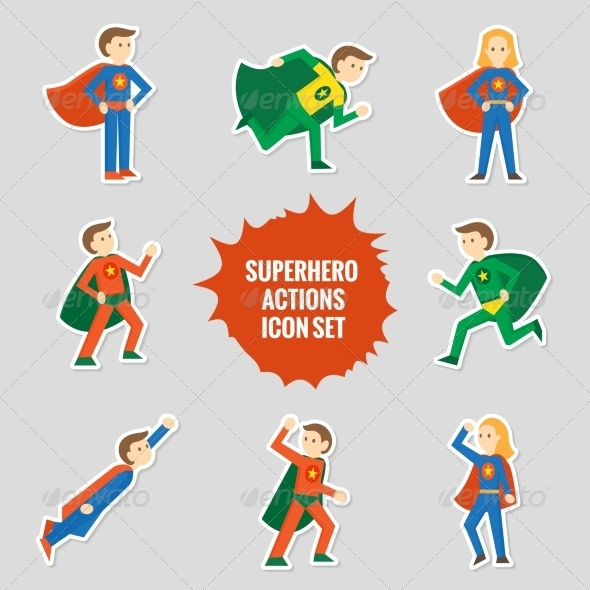 GraphicRiver Set of Superheroes Stickers 8423805