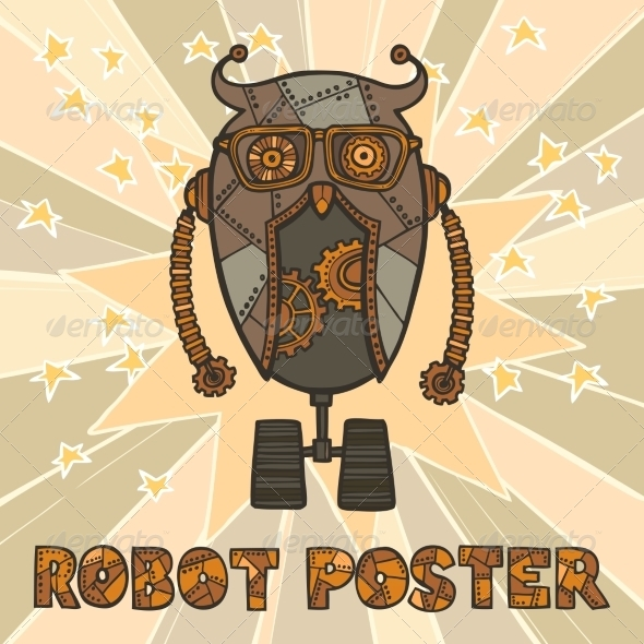 GraphicRiver Hipster Robot Design 8423818