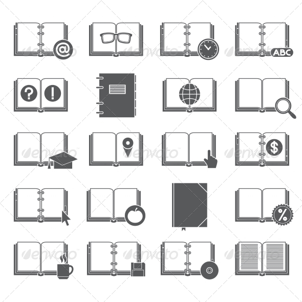 GraphicRiver Books and Symbols Icons Set 8423819