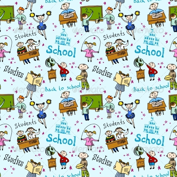 GraphicRiver Seamless Pattern with Kids 8423829
