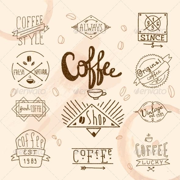 GraphicRiver Vintage Retro Coffee Labels 8423838