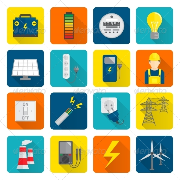 GraphicRiver Electricity Energy Icons Set 8423858