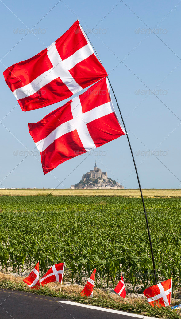 Mont Saint Michel Monastery and Norwegian Flags - Stock Photo - Images
