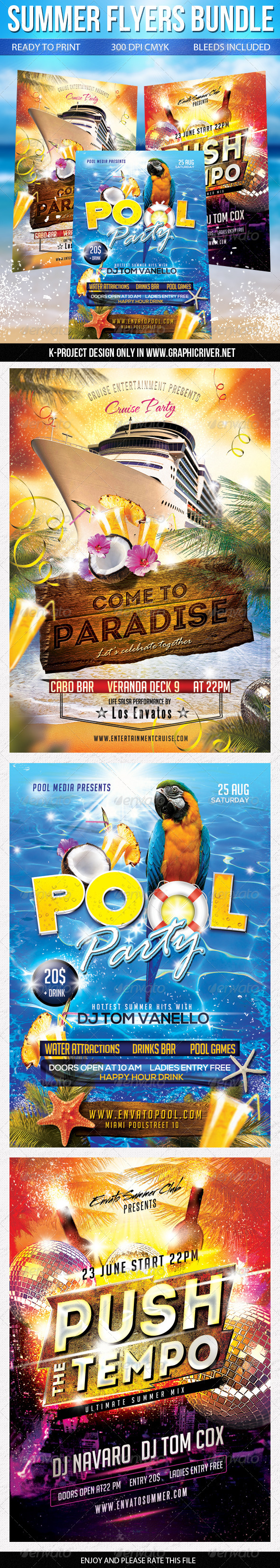 GraphicRiver Summer Flyers Bundle 8426807