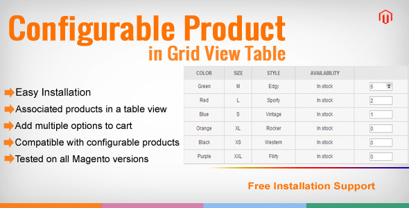 CodeCanyon Magento Configurable Product in Grid View Table 8426880