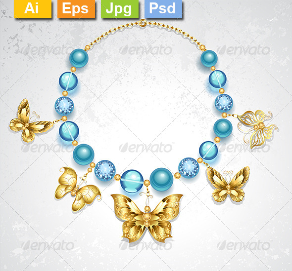 Necklace of Golden Butterflies