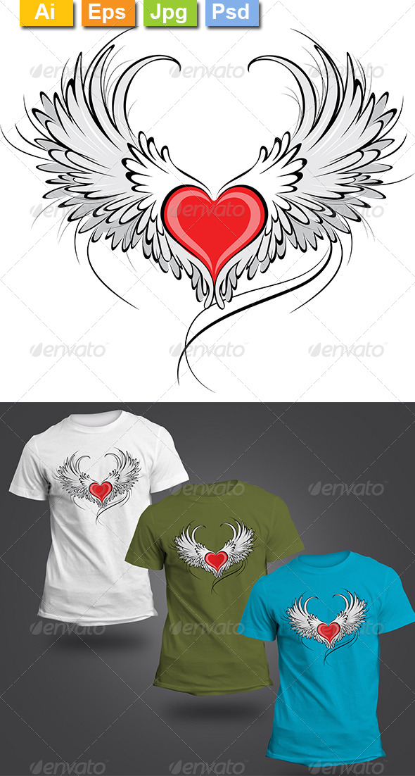 GraphicRiver Red Heart Angel 8427474