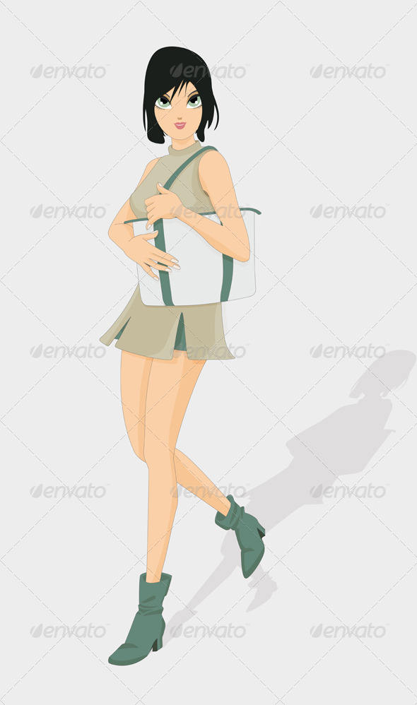 GraphicRiver Woman Holding a Bag 8427566