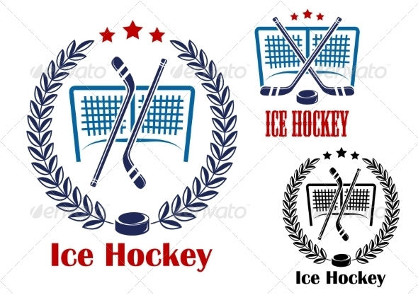 GraphicRiver Ice Hockey Net Emblems 8427808