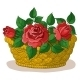 Basket with Flowers Roses - GraphicRiver Item for Sale