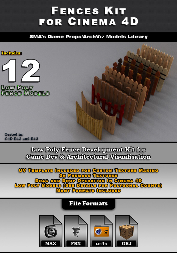 Low Poly 3D Models - Fences Kit for Cinema 4D - 3DOcean Item for Sale