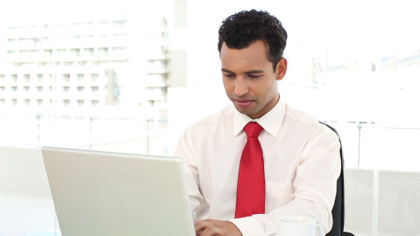 Cheerful Handsome Businessman Typing On Laptop