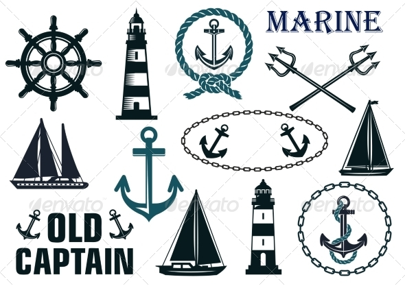 GraphicRiver Marine Heraldic Elements Set 8428056