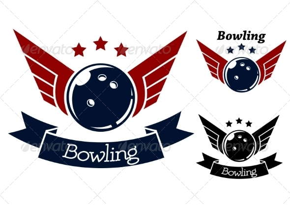 GraphicRiver Bowling Symbols with Wings 8428061