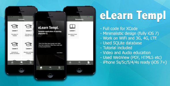 CodeCanyon eLearn App Template for iPhone iOS 7 8428465