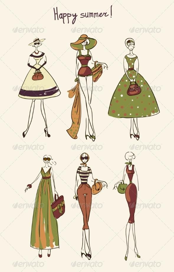 GraphicRiver Illustration of a Girl Set 8428707