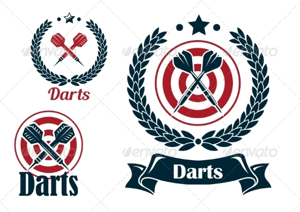 Three Different Darts Emblems or Badges