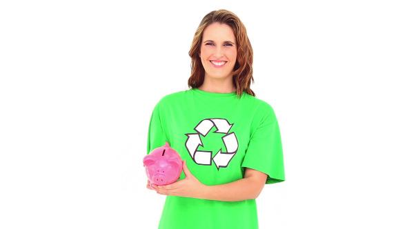 Smiling Environmental Activist Showing Piggy Bank