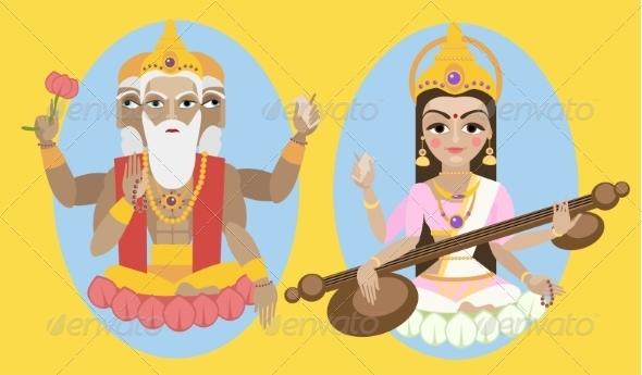GraphicRiver Lord Brahma and Sarasvati Devi 8428797