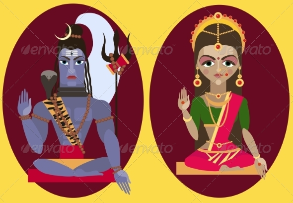 GraphicRiver Lord Shiva and Mata Parvati 8428800