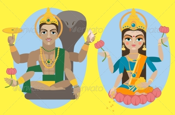GraphicRiver Lord Vishnu and Mata Lakshmi 8428802