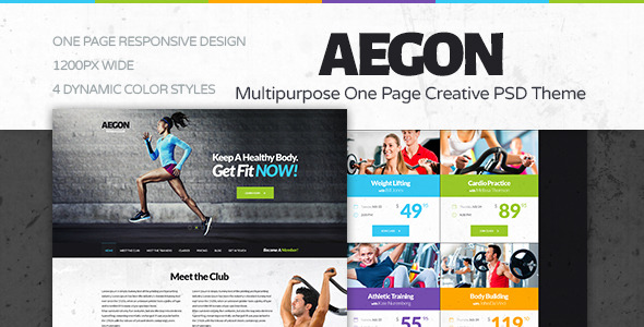 Aegon Fitness Club - One Page Fitness PSD Theme
