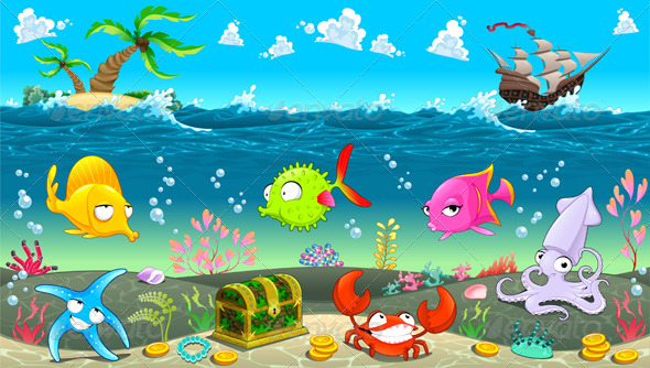 GraphicRiver Funny Scene under the Sea 8428964
