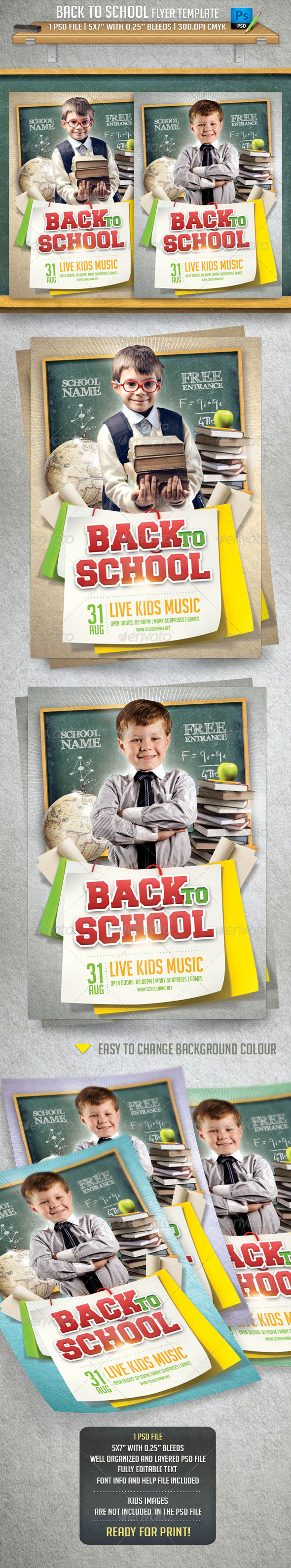 GraphicRiver Back To School Flyer Template 8429116