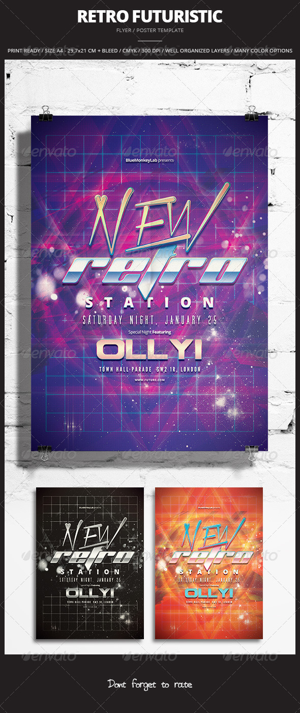 GraphicRiver Retro Futuristic Flyer Poster 3 8429205